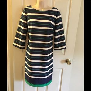 Jessica Howard navy blue green white striped dress